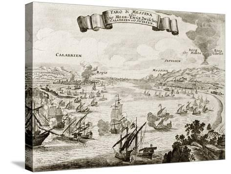 An Old Illustration Of Strait Of Messina, Between Italian Peninsula And Sicily-marzolino-Stretched Canvas Print