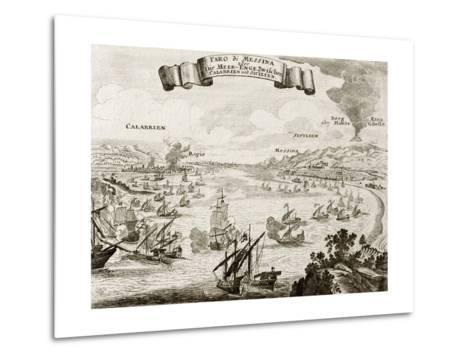 An Old Illustration Of Strait Of Messina, Between Italian Peninsula And Sicily-marzolino-Metal Print