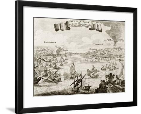An Old Illustration Of Strait Of Messina, Between Italian Peninsula And Sicily-marzolino-Framed Art Print