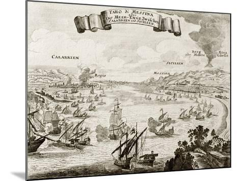 An Old Illustration Of Strait Of Messina, Between Italian Peninsula And Sicily-marzolino-Mounted Art Print