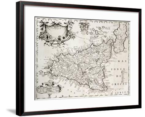 An Old Map Of Sicily, The Original Was Created By V-marzolino-Framed Art Print