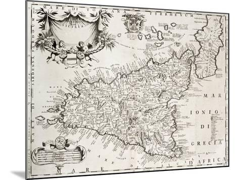 An Old Map Of Sicily, The Original Was Created By V-marzolino-Mounted Art Print