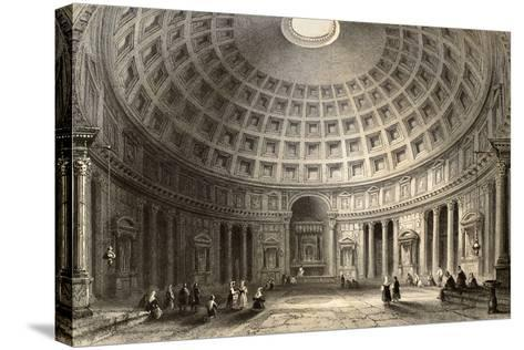 Antique Illustration Of Pantheon In Rome, Italy-marzolino-Stretched Canvas Print