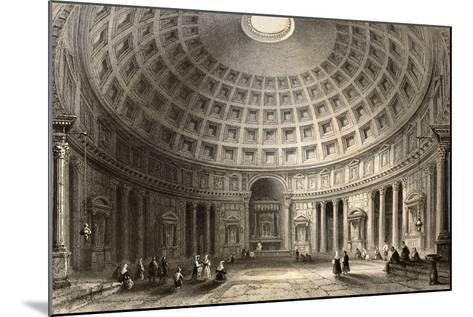 Antique Illustration Of Pantheon In Rome, Italy-marzolino-Mounted Art Print