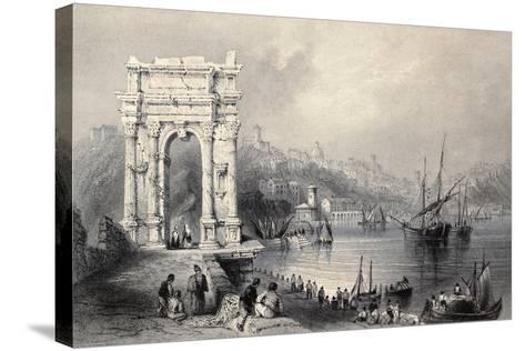 Antique Illustration Of Arco Di Traiano In Ancona, Italy-marzolino-Stretched Canvas Print