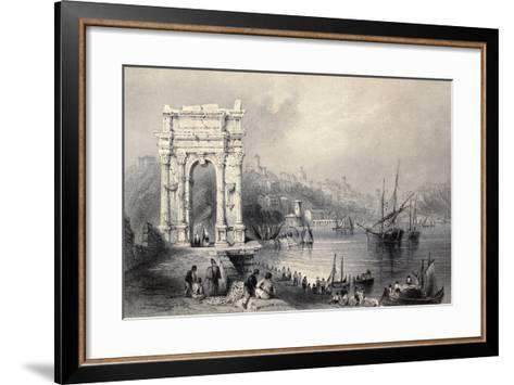 Antique Illustration Of Arco Di Traiano In Ancona, Italy-marzolino-Framed Art Print