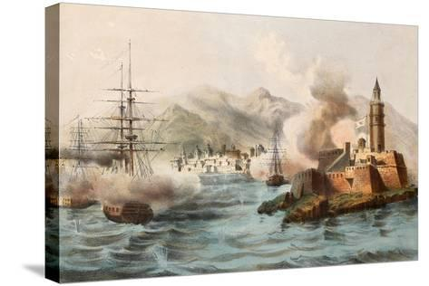 Antique Illustration Shows Palermo Bombing In 1860 By Bourbon'S Fleet-marzolino-Stretched Canvas Print