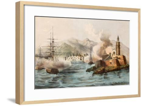 Antique Illustration Shows Palermo Bombing In 1860 By Bourbon'S Fleet-marzolino-Framed Art Print