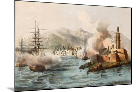 Antique Illustration Shows Palermo Bombing In 1860 By Bourbon'S Fleet-marzolino-Mounted Art Print