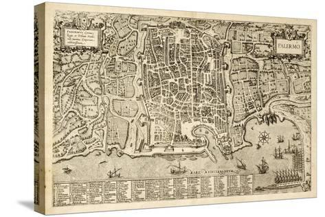 Antique Map Of Palermo, The Main Town In Sicily-marzolino-Stretched Canvas Print