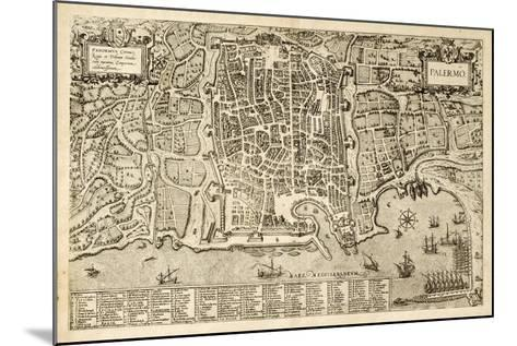 Antique Map Of Palermo, The Main Town In Sicily-marzolino-Mounted Art Print