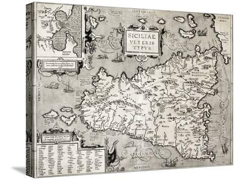 Antique Map Of Sicily With Syracuse Detail-marzolino-Stretched Canvas Print