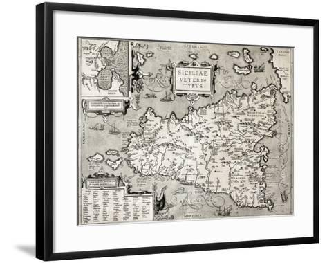 Antique Map Of Sicily With Syracuse Detail-marzolino-Framed Art Print