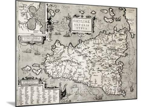 Antique Map Of Sicily With Syracuse Detail-marzolino-Mounted Art Print
