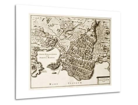 Antique Map Of Syracuse, Sicily-marzolino-Metal Print