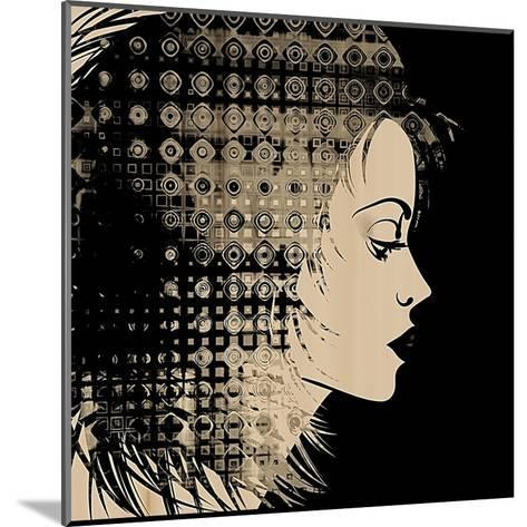Art Sketched Beautiful Girl Face In Profile With Geometric Ornament Hair On Black Background-Irina QQQ-Mounted Art Print