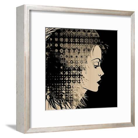 Art Sketched Beautiful Girl Face In Profile With Geometric Ornament Hair On Black Background-Irina QQQ-Framed Art Print