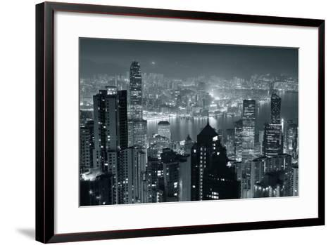 Hong Kong City Skyline At Night With Victoria Harbor And Skyscrapers Illuminated-Songquan Deng-Framed Art Print