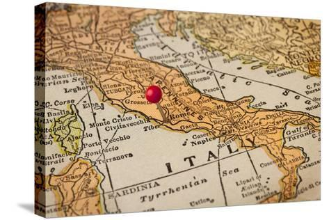 Italy Vintage 1920S Map (Printed In 1926 - Copyrights Expired) With A Red Pushpin On Rome-PixelsAway-Stretched Canvas Print