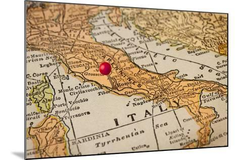 Italy Vintage 1920S Map (Printed In 1926 - Copyrights Expired) With A Red Pushpin On Rome-PixelsAway-Mounted Art Print