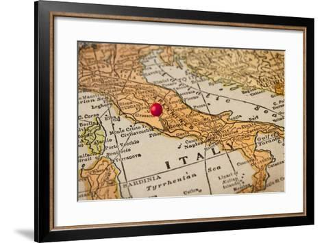 Italy Vintage 1920S Map (Printed In 1926 - Copyrights Expired) With A Red Pushpin On Rome-PixelsAway-Framed Art Print