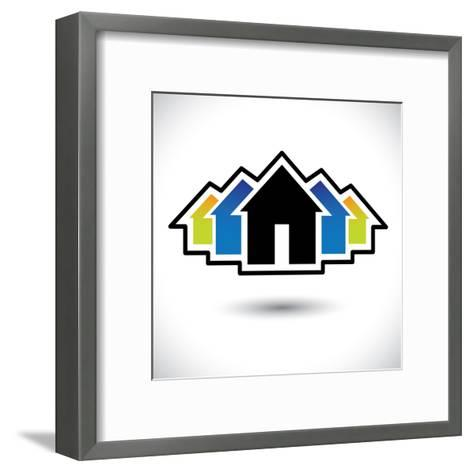 House (Home) And Residence Sign For Real Estate-smarnad-Framed Art Print