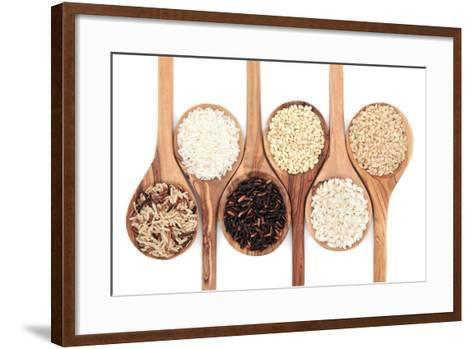 Rice Varieties In Olive Wood Spoons Over White Background-marilyna-Framed Art Print