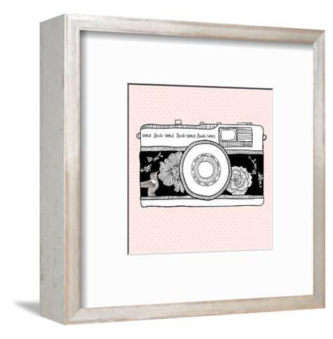 Background With Retro Camera. Photo Camera With Flowers And Birds-cherry blossom girl-Framed Art Print