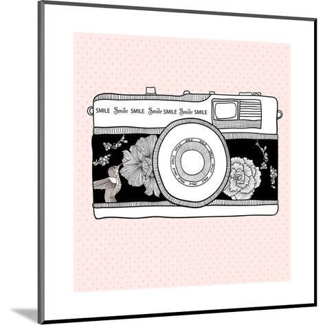 Background With Retro Camera. Photo Camera With Flowers And Birds-cherry blossom girl-Mounted Art Print