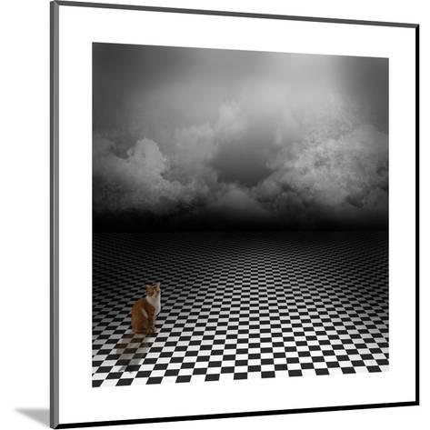 Ginger Cat Sitting In Empty, Dark, Psychedelic Image With Black And White Checker Floor-IngaLinder-Mounted Art Print