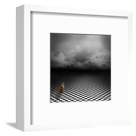 Ginger Cat Sitting In Empty, Dark, Psychedelic Image With Black And White Checker Floor-IngaLinder-Framed Art Print