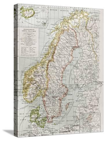 Scandinavia Political Map With Iceland Insert Map-marzolino-Stretched Canvas Print