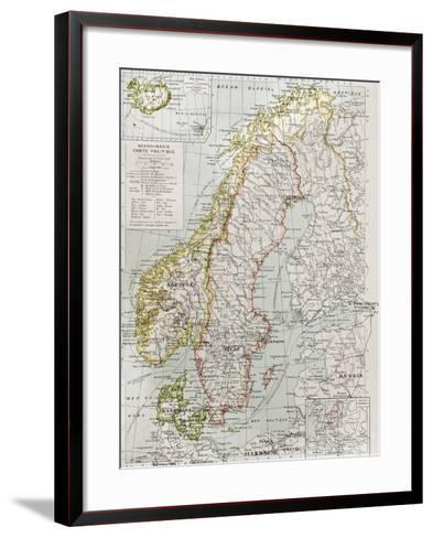 Scandinavia Political Map With Iceland Insert Map-marzolino-Framed Art Print