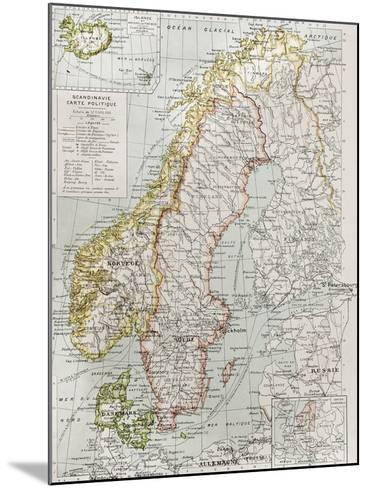 Scandinavia Political Map With Iceland Insert Map-marzolino-Mounted Art Print