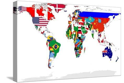 Map Of World With Flags In Relevant Countries, Isolated On White Background-Speedfighter-Stretched Canvas Print