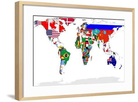Map Of World With Flags In Relevant Countries, Isolated On White Background-Speedfighter-Framed Art Print