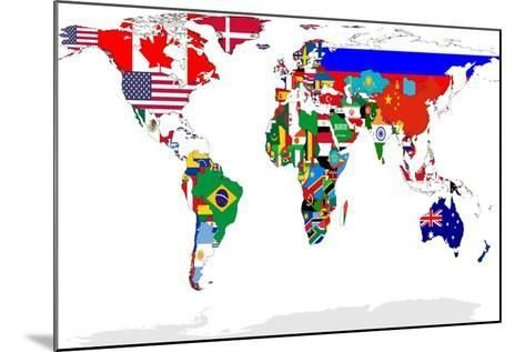 Map Of World With Flags In Relevant Countries, Isolated On White Background-Speedfighter-Mounted Art Print