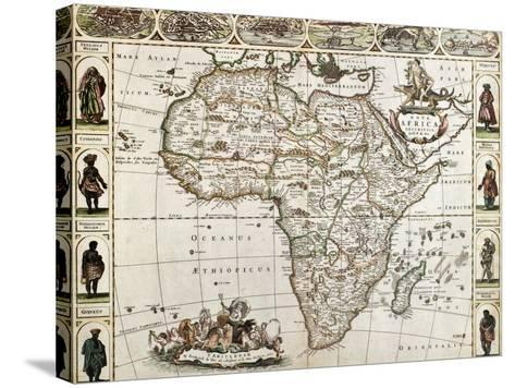 Africa Old Map. Created By Frederick De Wit, Published In Amsterdam, 1660-marzolino-Stretched Canvas Print