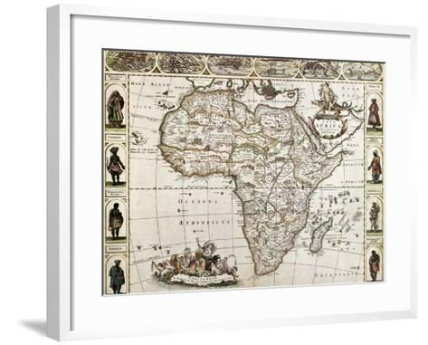 Africa Old Map. Created By Frederick De Wit, Published In Amsterdam, 1660-marzolino-Framed Art Print