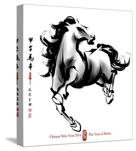 Horse Ink Painting, Chinese New Year 2014. Translation: Year Of Horse-yienkeat-Stretched Canvas Print