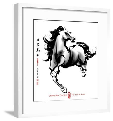 Horse Ink Painting, Chinese New Year 2014. Translation: Year Of Horse-yienkeat-Framed Art Print