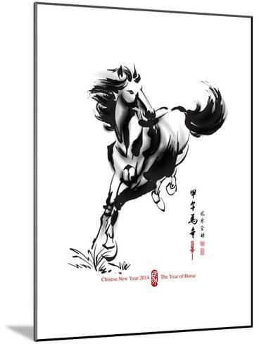 Horse Ink Painting, Chinese New Year 2014. Translation: Year Of Horse-yienkeat-Mounted Art Print