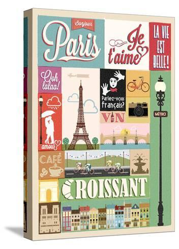 Typographical Retro Style Poster With Paris Symbols And Landmarks-Melindula-Stretched Canvas Print