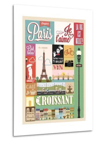 Typographical Retro Style Poster With Paris Symbols And Landmarks-Melindula-Metal Print