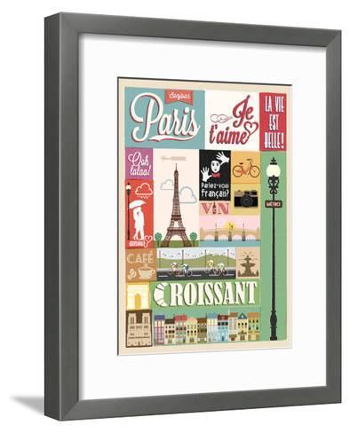 Typographical Retro Style Poster With Paris Symbols And Landmarks-Melindula-Framed Art Print