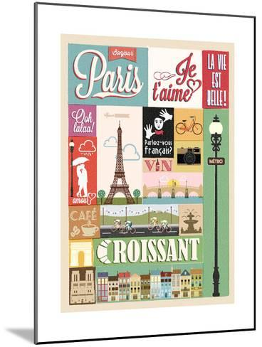 Typographical Retro Style Poster With Paris Symbols And Landmarks-Melindula-Mounted Art Print