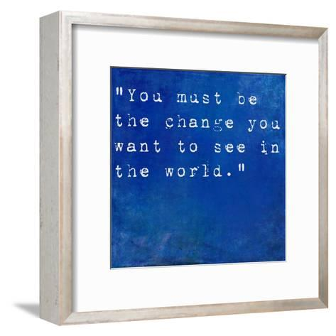 Inspirational Quote By Mahatma Ghandi On Earthy Blue Background-nagib-Framed Art Print