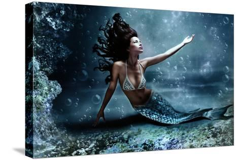 Mythology Being, Mermaid In Underwater Scene, Photo Compilation-coka-Stretched Canvas Print