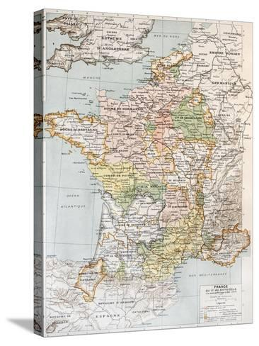 Medieval France Old Map (10th - 14th Century)-marzolino-Stretched Canvas Print