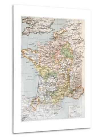Medieval France Old Map (10th - 14th Century)-marzolino-Metal Print